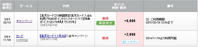 楽天入会キャンペーンポイント 収入実績